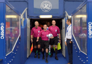 QPR-Blackburn, 10/09/2016. Players and referees walking out the tunnel for the kick-off.